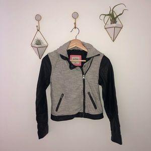 ABERCROMBIE KIDS grey black faux leather jacket 12